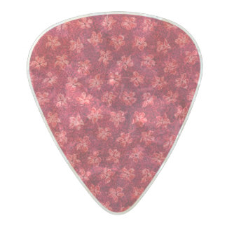Vintage Floral Ruby Red Pearl Celluloid Guitar Pick