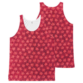 Vintage Floral Ruby Red Violets All-Over Print Tank Top