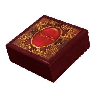Vintage floral ruby womans name keepsake box