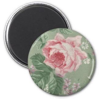 Vintage Floral Sage and Pink Wallpaper Floral Fridge Magnet