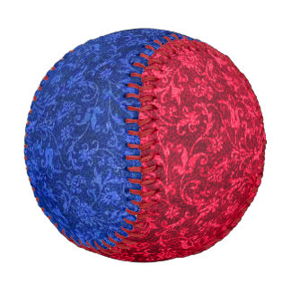 Vintage Floral Sapphire Blue and Red Baseball