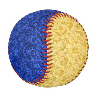 Vintage Floral Sapphire Blue and Yellow Baseball