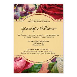 Vintage floral script bridal shower invitations