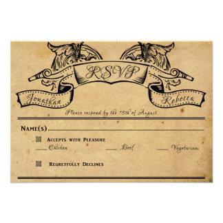 Vintage Floral Scroll Banner Wedding Response Card