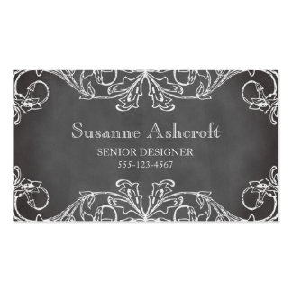 Vintage floral scroll chalkboard chic designer Double-Sided standard business cards (Pack of 100)