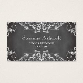 Vintage floral scroll chalkboard chic designer business card