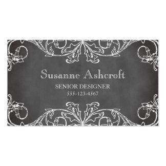 Vintage floral scroll chalkboard chic designer Double-Sided standard business cards (Pack of 100)