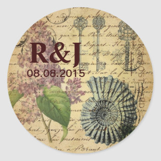 vintage floral sea shell botanical art paris classic round sticker