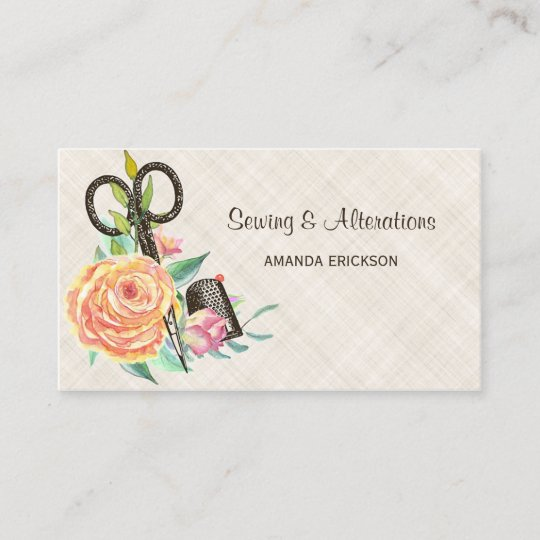 Vintage floral seamstress scissors and thimble business card vintage floral seamstress scissors and thimble business card reheart Image collections
