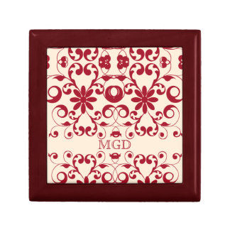 Vintage floral shabby and chic pattern monogram keepsake boxes