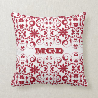 Vintage floral shabby and chic pattern monogram pillows