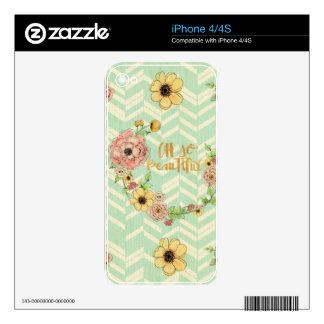 Vintage,floral,shabby chic,chevron,zig zag,multi c skin for iPhone 4