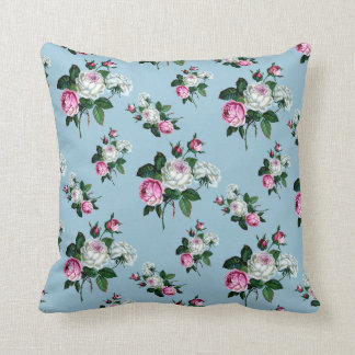 Shabby Chic White Throw Pillows : Roses Floral Print Pillows - Decorative & Throw Pillows Zazzle