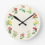 Vintage Floral Shabby Roses Custom Color Round Wall Clocks
