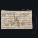 """Vintage Floral Sheet Music Saxophone &amp; Gold Music Wristlet<br><div class=""""desc"""">Pretty and chic mini clutch bag for music lovers,  featuring Vintage Floral Sheet Music Saxophone &amp; Gold Music design</div>"""