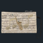 "Vintage Floral Sheet Music Saxophone &amp; Gold Music Wristlet<br><div class=""desc"">Pretty and chic mini clutch bag for music lovers,  featuring Vintage Floral Sheet Music Saxophone &amp; Gold Music design</div>"