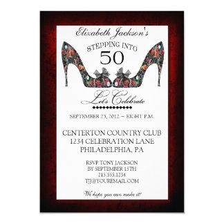 "Vintage Floral Shoe 50th Birthday Invitation 5"" X 7"" Invitation Card"