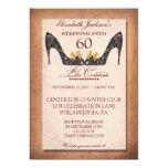 "Vintage Floral Shoe 60th Birthday Party Invitation 5"" X 7"" Invitation Card"