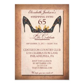 "Vintage Floral Shoe 65th Birthday Party Invitation 5"" X 7"" Invitation Card"