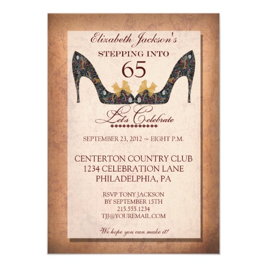Vintage Floral Shoe 65th Birthday Party Invitation Zazzle Com