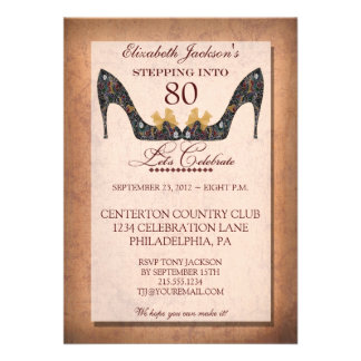Vintage Floral Shoe 80th Birthday Party Invitation