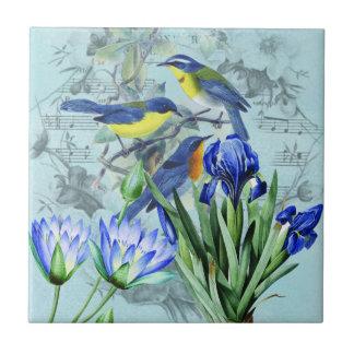 Vintage Floral Songbirds Apparel and Gifts Ceramic Tile