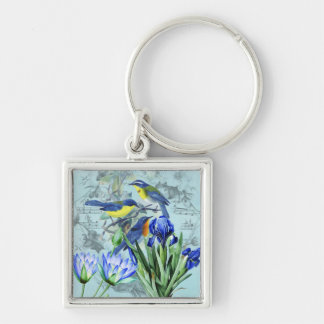 Vintage Floral Songbirds Apparel and Gifts Keychain