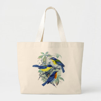 Vintage Floral Songbirds Apparel and Gifts Large Tote Bag