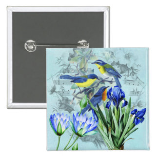 Vintage Floral Songbirds Apparel and Gifts Pinback Button