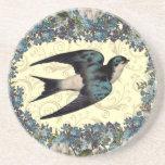 Vintage Floral Sparrow Beverage Coasters