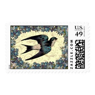 Vintage Floral Sparrow Postage