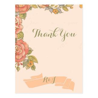 vintage floral spring wedding thank you postcard