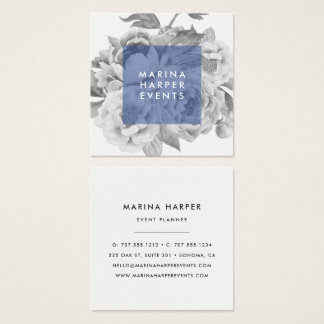 Vintage Floral Square Business Cards | Navy