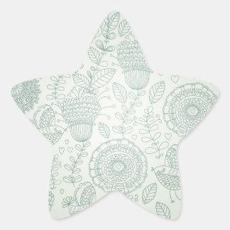Vintage Floral Star Sticker