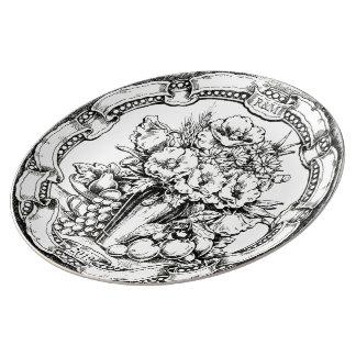 Vintage Floral Still Life Pyrography Wedding Gift Porcelain Plate