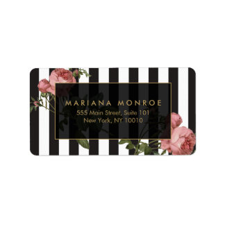 Vintage Floral Striped Address Label