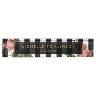 Vintage Floral Striped Desk Nameplate