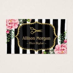 Vintage Floral Striped Hair Stylist Appointment Business Card at Zazzle