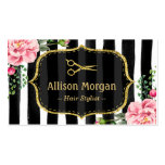 Vintage Floral Striped Hair Stylist Appointment Double-Sided Standard Business Cards (Pack Of 100)