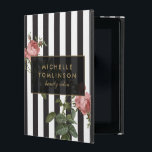 "Vintage Floral Striped Personalized iPad Case<br><div class=""desc"">Coordinates with the Vintage Floral Striped Salon Business Card Template and office supplies by 1201AM. Your name or business name is elegantly displayed over a black and white striped background with a vintage floral illustration overlay for a very chic and stylish aesthetic on this personalized iPad Case. &#169; 1201AM CREATIVE...</div>"
