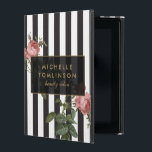 """Vintage Floral Striped Personalized iPad Case<br><div class=""""desc"""">Coordinates with the Vintage Floral Striped Salon Business Card Template and office supplies by 1201AM. Your name or business name is elegantly displayed over a black and white striped background with a vintage floral illustration overlay for a very chic and stylish aesthetic on this personalized iPad Case. &#169; 1201AM CREATIVE...</div>"""