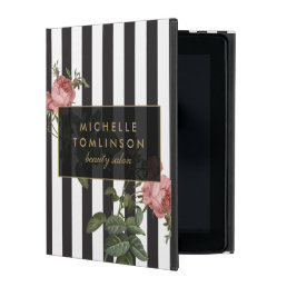 Vintage Floral Striped Personalized iPad Case