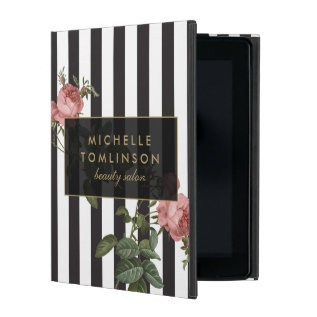 Vintage Floral Striped Personalized Ipad Case at Zazzle