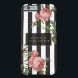 "Vintage Floral Striped Personalized iPhone Case<br><div class=""desc"">Coordinates with the Vintage Floral Striped Salon Business Card Template and office accessories by 1201AM. Your name or business name is elegantly displayed over a black and white striped background with a vintage floral illustration overlay for a very chic and stylish aesthetic on this personalized iPhone case. &#169; 1201AM CREATIVE...</div>"