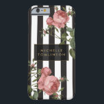 """Vintage Floral Striped Personalized iPhone Case<br><div class=""""desc"""">Coordinates with the Vintage Floral Striped Salon Business Card Template and office accessories by 1201AM. Your name or business name is elegantly displayed over a black and white striped background with a vintage floral illustration overlay for a very chic and stylish aesthetic on this personalized iPhone case. &#169; 1201AM CREATIVE...</div>"""