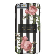 Vintage Floral Striped Personalized Iphone Case at Zazzle