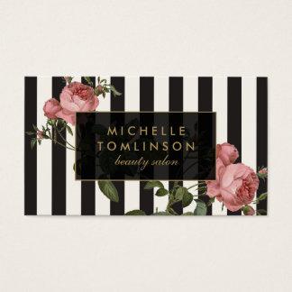 Vintage Floral Striped Salon Black and Ivory Business Card