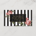 """Vintage Floral Striped Salon Business Card<br><div class=""""desc"""">Your name or business name is elegantly displayed over a black and white striped background with a vintage floral illustration overlay for a very chic and stylish aesthetic. This design is part of a series of coordinating office supplies. Shop matching stationery, rack cards, labels and more in our shop: zazzle.com/1201am....</div>"""