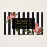 "Vintage Floral Striped Salon Business Card<br><div class=""desc"">Your name or business name is elegantly displayed over a black and white striped background with a vintage floral illustration overlay for a very chic and stylish aesthetic. This design is part of a series of coordinating office supplies. Shop matching stationery, rack cards, labels and more in our shop: zazzle.com/1201am....</div>"