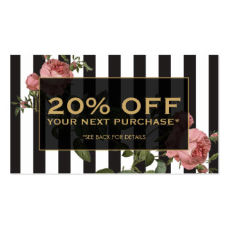 Vintage Floral Striped Salon Coupon Card Double-Sided Standard Business Cards (Pack Of 100)